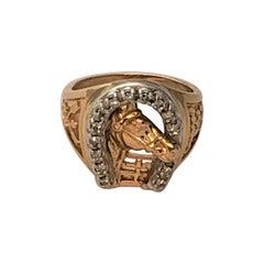 14KY Diamond Horse Shoe Ring