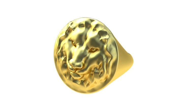 TIFFANY'S  FAMOUS JEWELRY DESIGNER , Thomas Kurilla  14K Yellow Gold Lion Signet Ring , Matte finish.  For men or women . Mens size 9.25  This is hand sculpted. I am really a sculptor at heart and drifted in to fine jewelry.  This ring is solid