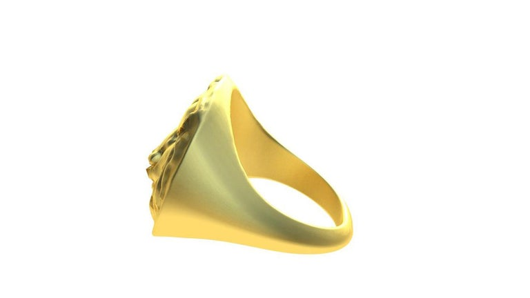 Contemporary 14K Yellow Gold Leo Lion Head Signet Ring For Sale