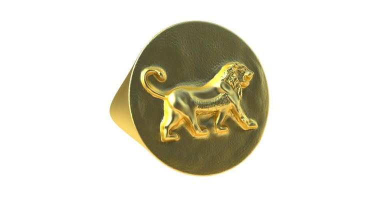 14ky Gold Persepolis Lion Signet Ring, Matte 14k y, size 9 x 21.50 mm round. I am a sculptor turned jewelry designer. These lion rings have been the most fun in a while to sculpt. This ring is solid gold, no pun intended. From the city of