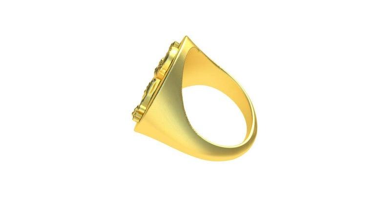 Women's or Men's 14 Karat Yellow Gold Rampant Lion Signet Ring For Sale