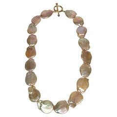14KY Peach Coin Pearl Knotted Necklace