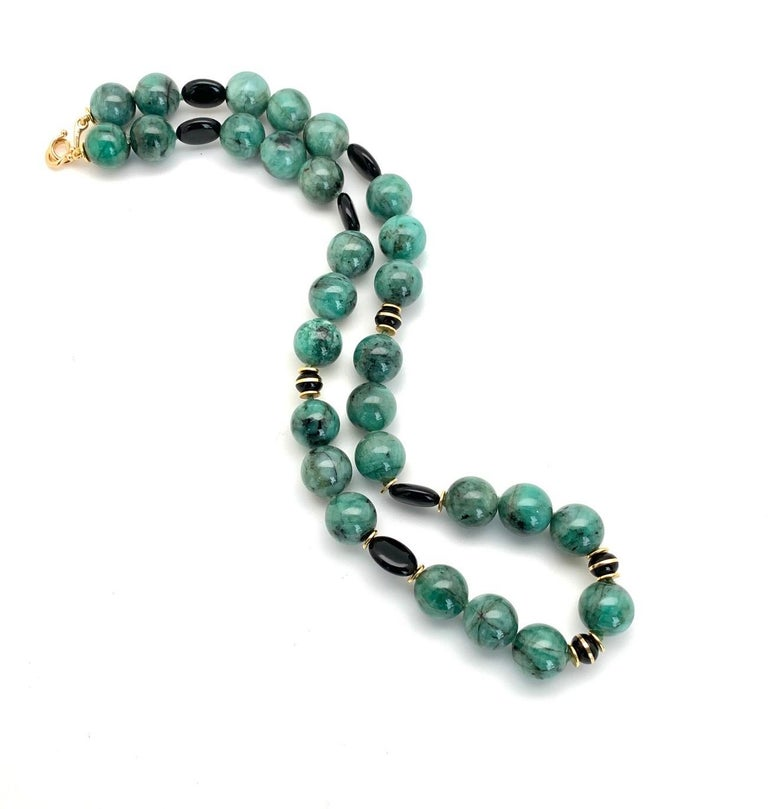 Artisan Emerald Bead Necklace with Yellow Gold and Onyx Accents For Sale