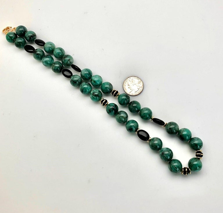 Round Cut Emerald Bead Necklace with Yellow Gold and Onyx Accents For Sale