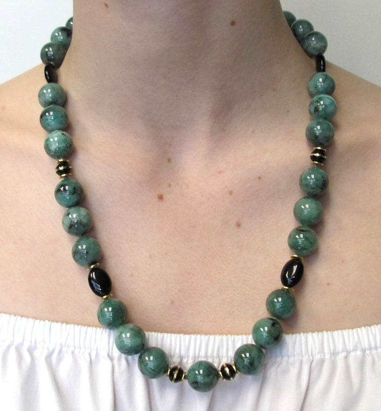 Women's Emerald Bead Necklace with Yellow Gold and Onyx Accents For Sale