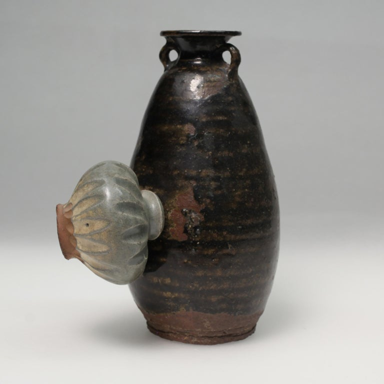 18th Century and Earlier 14th Century Sukhothai Ceramic Jar with Accidental Fused Pot For Sale