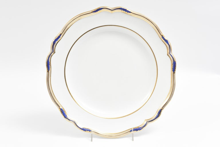 Early 20th Century 15 Antique Cobalt and Gold Dinner Plates, Spode, England Scalloped Shape Edge For Sale