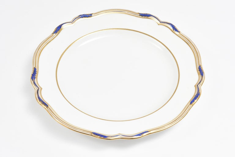 15 Antique Cobalt and Gold Dinner Plates, Spode, England Scalloped Shape Edge For Sale 1