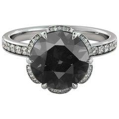 1.5 Carat 14 Karat White Gold Certified Round Black Diamond Engagement Ring