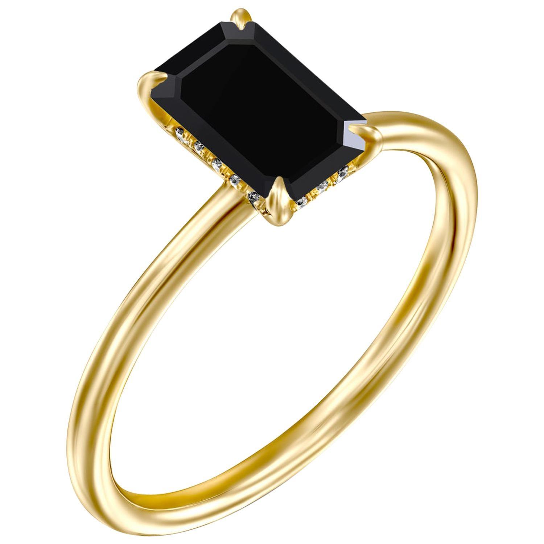 1.5 Carat 14 Karat Yellow Gold Certified Emerald Black Diamond Engagement Ring