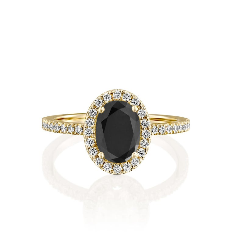 Beautiful solitaire with accents vintage style diamond engagement ring. Center stone is natural, oval shaped, AAA quality Black Diamond of 1 carat and it is surrounded by smaller natural diamonds approx. 0.5 total carat weight. The total carat