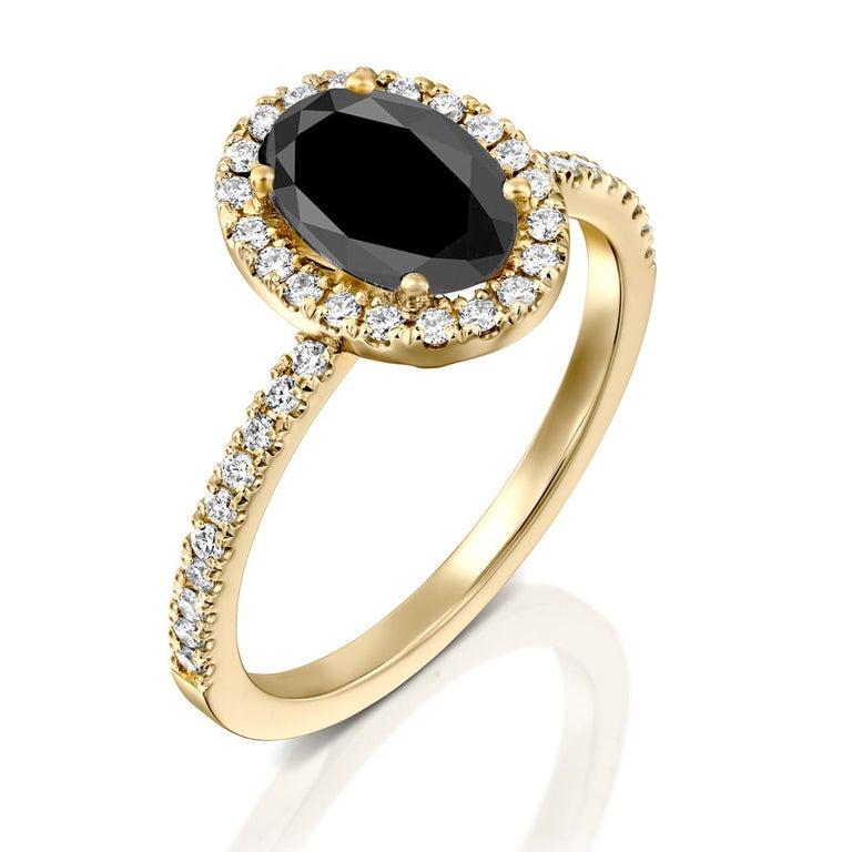 Art Deco 1.5 Carat 14 Karat Yellow Gold Certified Oval Black Diamond Engagement Ring For Sale