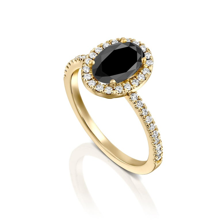 Oval Cut 1.5 Carat 14 Karat Yellow Gold Certified Oval Black Diamond Engagement Ring For Sale