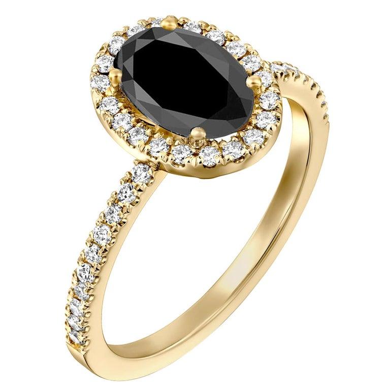 1.5 Carat 14 Karat Yellow Gold Certified Oval Black Diamond Engagement Ring For Sale
