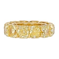 15 Carat 18K Yellow Gold Radiant Cut Fancy Yellow Diamond Eternity Band