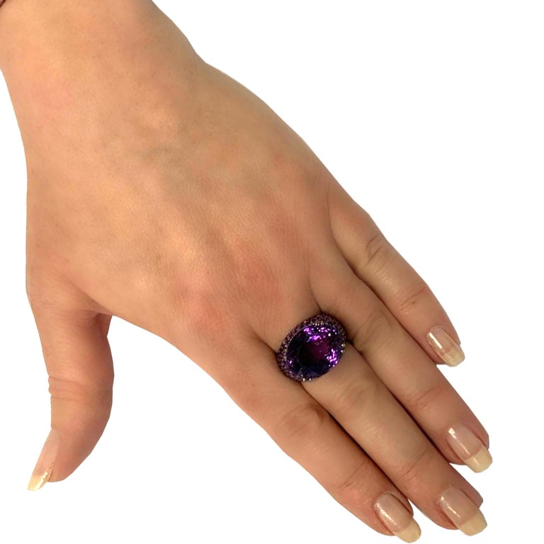 Oval Cut 15 Carat Amethyst and Diamond Cocktail Ring For Sale