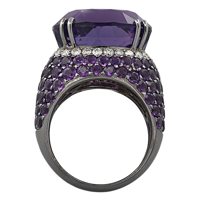 Women's 15 Carat Amethyst and Diamond Cocktail Ring For Sale