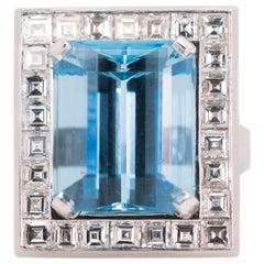 15 Carat Aquamarine and 4 Carat Diamond Halo Platinum Engagement Ring