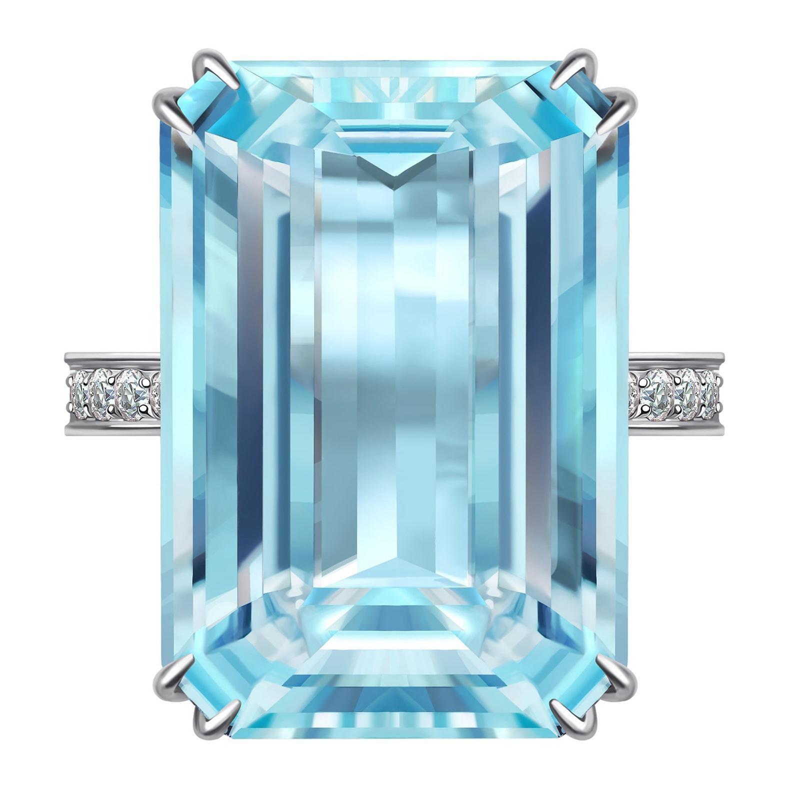 15 Carat Aquamarine Diamond 14 Karat White Gold Ring