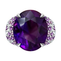 15 Carat Brazilian Purple Amethyst Diamonds 14 Karat White Gold Cocktail Ring