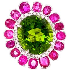 15+ Carat Burmese No Heat Peridot, Burmese Ruby, and Diamond Cocktail Ring