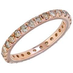 1.5 Carat Champagne Diamond Eternity Wedding Band in 18 Karat Rose Gold