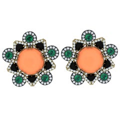 15 Carat Coral Emerald Onyx and Diamond Yellow Gold and Silver Earrings