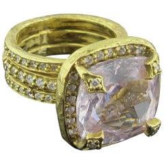 15 Carat Cushion Cut Morganite in 18 Karat Yellow Gold Mounting with Diamonds