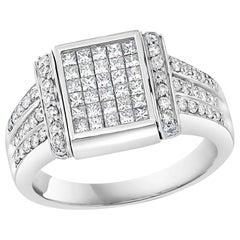 1.5 Carat Diamond and Blue Diamond Princess Flip Ring 14 Karat Gold, Unisex