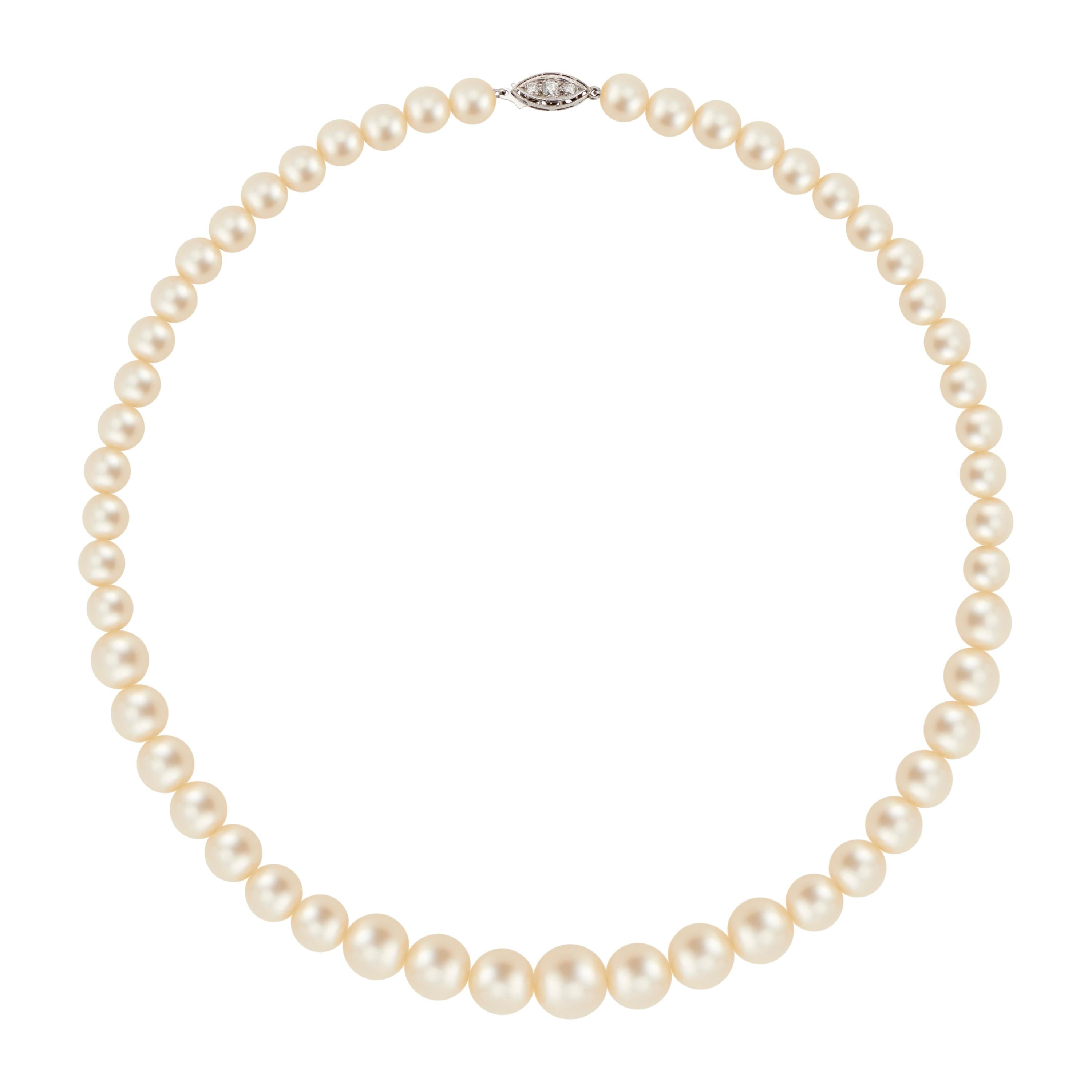 .15 Carat Diamond Cultured Pearl White Gold Necklace