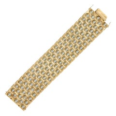 15 Carat Diamond Fancy Link Bracelet in 18 Karat Yellow Gold Hexagonal Links