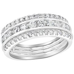 1.5 Carat Diamond Half Eternity Band 14 Karat White Gold 3-Row Band
