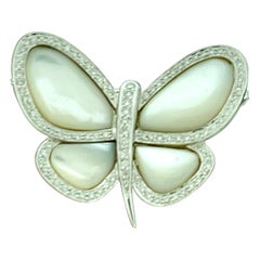 1.0 Carat Diamond and Mother of Pearl Butterfly Broach 18 Karat White Gold 13 Gm