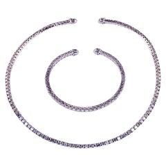 15 Carat Diamond Stiff Tennis Necklace and Bracelet Set in White Gold
