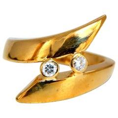 .15 Carat Diamonds Cross Over Ring 14 Karat Gold