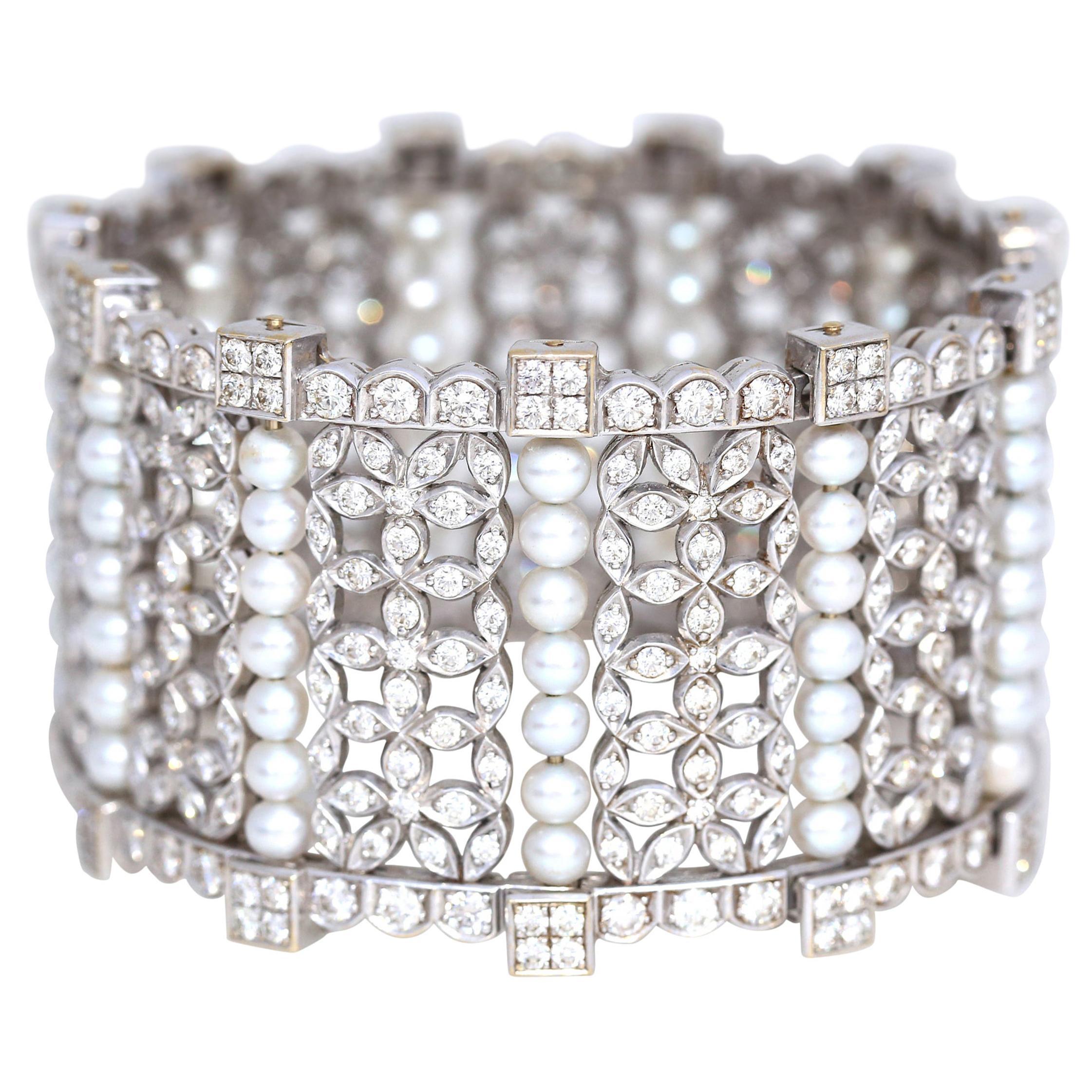 15 Carat Diamonds Pearls White Gold Bangle Bracelet, 1999