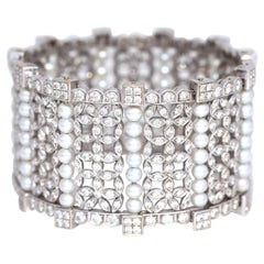 15 Carat Diamonds Pearls White Gold Bangle Bracelet, 1999