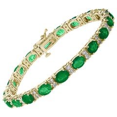 20 Carat Emerald 1.6 Carat Diamond Affordable Tennis Bracelet 14 K Yellow  Gold