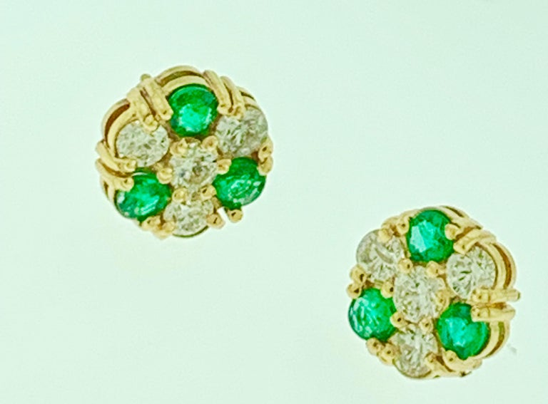Women's 1.5 Carat Emerald and 2 Carat Diamonds Flower Post Earrings 14 Karat Yellow Gold For Sale