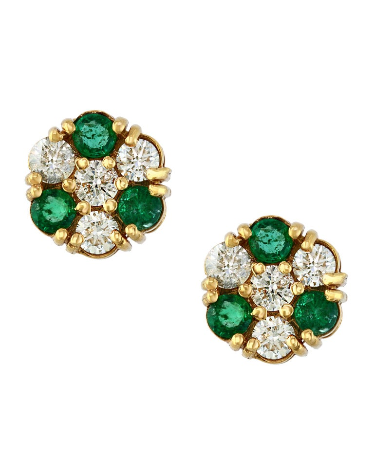 1.5 Carat  Round Cut Emerald  perfect pair  Post  Earrings  14 Karat  Yellow Gold  This exquisite pair of earrings are beautifully crafted with 14 karat  Yellow gold . Weight of 14 K gold 5.3 grams  Fine  6 Round Cut Emeralds weighing approximately