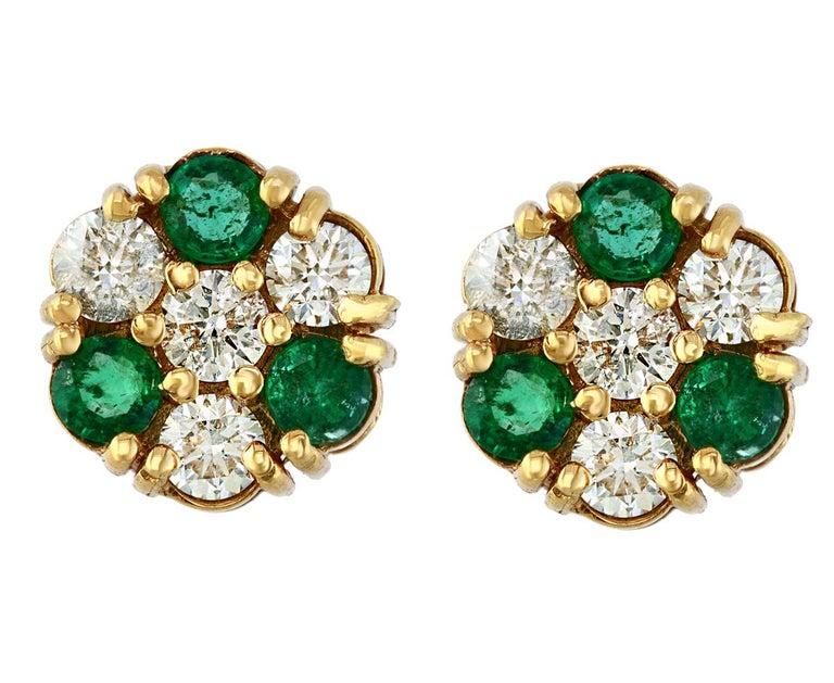1.5 Carat Emerald and 2 Carat Diamonds Flower Post Earrings 14 Karat Yellow Gold For Sale 3
