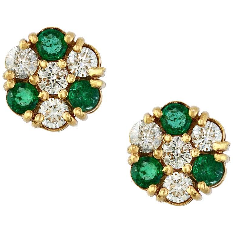 1.5 Carat Emerald and 2 Carat Diamonds Flower Post Earrings 14 Karat Yellow Gold For Sale
