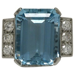15 Carat Emerald Cut Aquamarine Cocktail Ring Platinum Gemstone Retro Diamonds