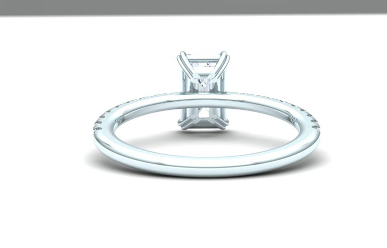 Modern 1.5 Carat Emerald Cut GIA Certified H-VS2 White Gold Engagement Ring For Sale
