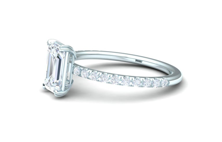 1.5 Carat Emerald Cut GIA Certified H-VS2 White Gold Engagement Ring In Excellent Condition For Sale In Aliso Viejo, CA