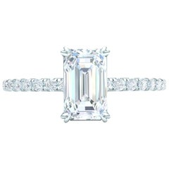 1.5 Carat Emerald Cut GIA Certified H-VS2 White Gold Engagement Ring