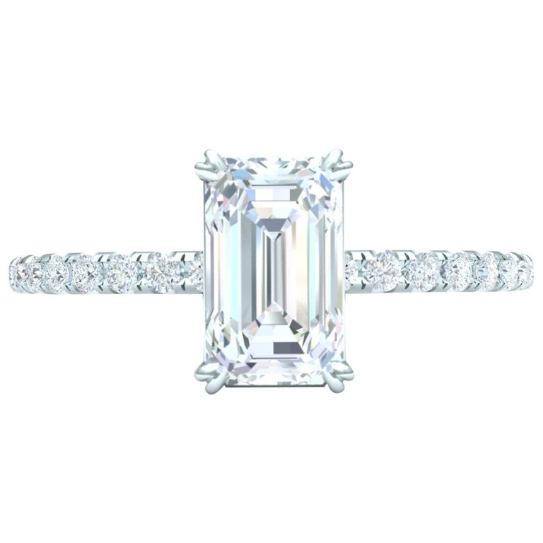 1.5 Carat Emerald Cut GIA Certified H-VS2 White Gold Engagement Ring For Sale