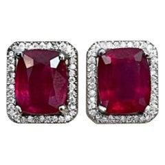 15 Carat Emerald Cut Treated Ruby & 1 Ct Diamond Stud Earrings 14 Kt White Gold