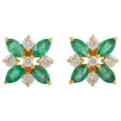 1.5 Carat Emerald Diamond 18 Karat Gold Flower Stud Earrings