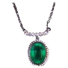 1.5 Carat Emerald Diamond Necklace 18 Karat White Gold